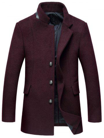 New Mock Pocket Mandarin Collar Wool Blend Coat WINE RED 2XL