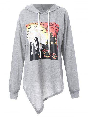 Discount Plus Size Halloween Eve  Asymmetric Hoodie - 4XL GRAY Mobile