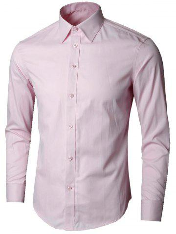 Unique Plain Long Sleeve Business Shirt - 5XL PINK Mobile