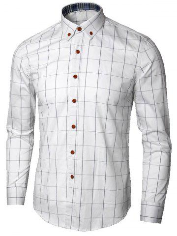 Store Button Down Collar Checked Shirt - 5XL WHITE Mobile