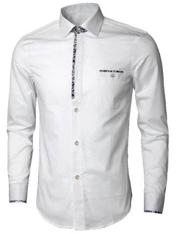 Outfit Long Sleeve Floral Detail Pocket Shirt - 5XL WHITE Mobile