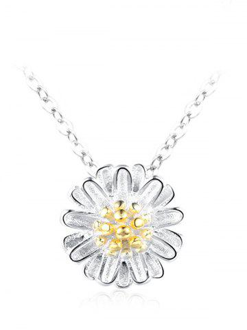 Hot Sterling Silver Flower Collarbone Pendant Necklace - SILVER  Mobile