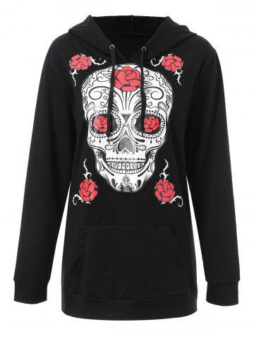 Latest Plus Size Halloween Floral Skull Graphic Hoodie BLACK 3XL