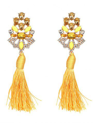 Outfits Faux Crystal Rhinestone Tassel Vintage Earrings - YELLOW  Mobile