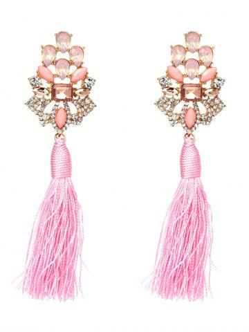Shops Faux Crystal Rhinestone Tassel Vintage Earrings - PINK  Mobile