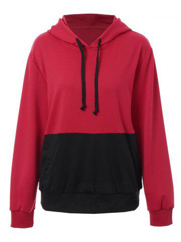 Best Plus Size Kangaroo Pocket Color Block Hoodie - XL RED Mobile