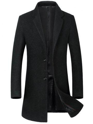 Hot Single Breasted Lapel Wool Blend Coat BLACK XL
