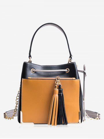 Latest Drawstring Tassel Metal Corner Tote Bag - BLACK  Mobile