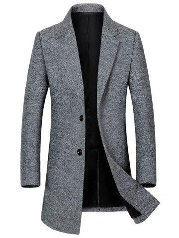 Discount Single Breasted Lapel Wool Blend Coat - L GRAY Mobile
