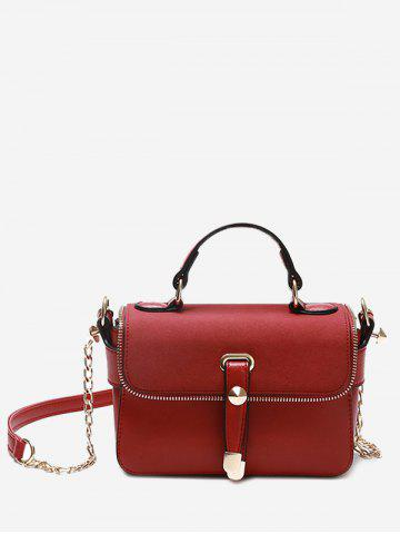 Latest Metal Chain Zip Handbag - RED  Mobile