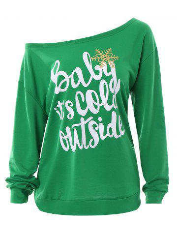 Unique Plus Size Baby Its Cold Outside Letter Christmas Sweatshirt GREEN 4XL