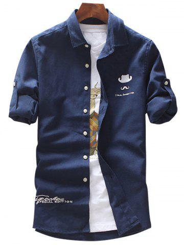 Shops Roll Tab Sleeve Hat Moustache Embroidery Shirt - 4XL DEEP BLUE Mobile