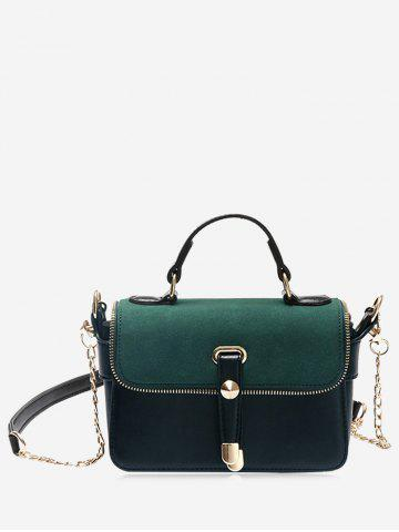 Chic Metal Chain Zip Handbag GREEN