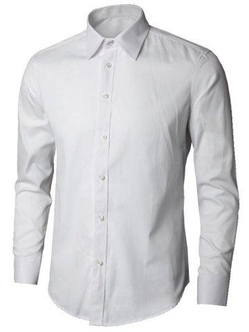 New Plain Long Sleeve Business Shirt - 5XL WHITE Mobile