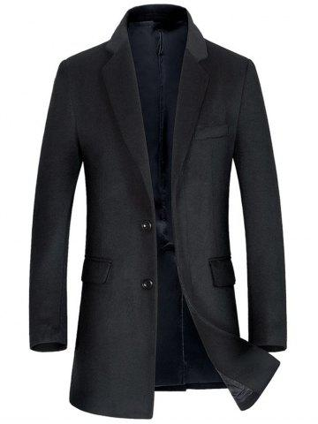 Discount Flap Pocket Single Breasted Wool Blend Coat BLACK XL