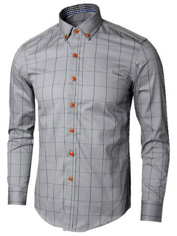 Store Button Down Collar Checked Shirt - 5XL GRAY Mobile
