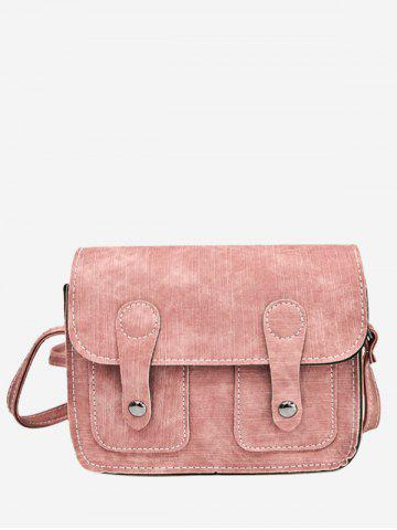 Sale PU Leather Stitching Buckle Straps Crossbody Bag - PINK  Mobile