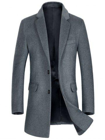 Hot Flap Pocket Single Breasted Wool Blend Coat - 2XL GRAY Mobile