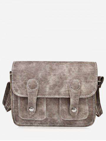 Outfit PU Leather Stitching Buckle Straps Crossbody Bag - BROWN  Mobile