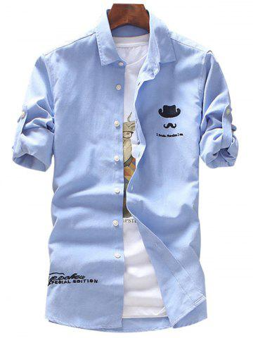 Trendy Roll Tab Sleeve Hat Moustache Embroidery Shirt AZURE XL