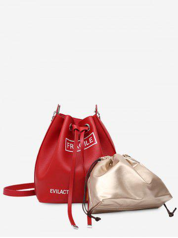 Buy PU Leather Drawstring Letter Crossbody Bag Set