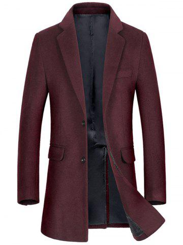 Buy Flap Pocket Single Breasted Wool Blend Coat WINE RED 3XL
