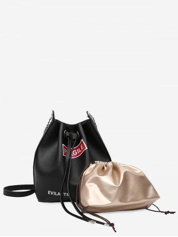 Chic PU Leather Drawstring Letter Crossbody Bag Set