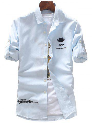 Fancy Roll Tab Sleeve Hat Moustache Embroidery Shirt - LIGHT BLUE 2XL Mobile