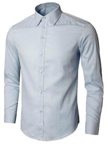 Cheap Plain Long Sleeve Business Shirt - XL LIGHT BLUE Mobile