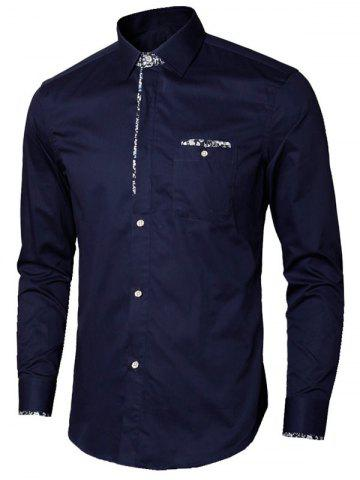 Online Long Sleeve Floral Detail Pocket Shirt - M PURPLISH BLUE Mobile