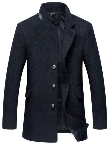 Unique Mock Pocket Mandarin Collar Wool Blend Coat - L PURPLISH BLUE Mobile