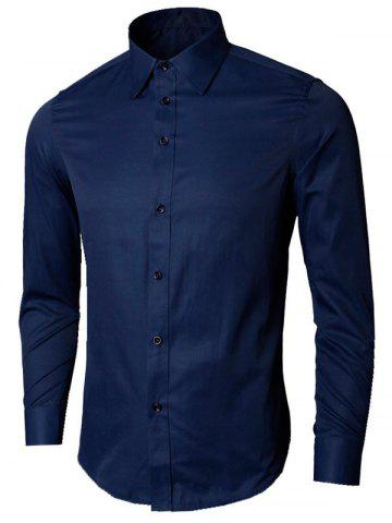 Affordable Plain Long Sleeve Business Shirt - XL PURPLISH BLUE Mobile