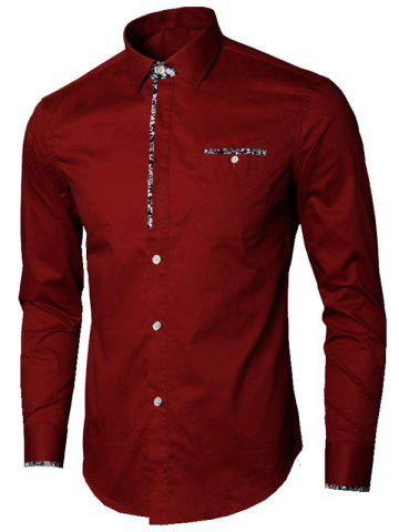 Trendy Long Sleeve Floral Detail Pocket Shirt - 2XL WINE RED Mobile