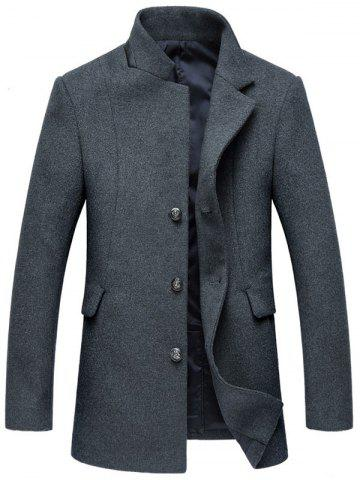 Online Mock Pocket Mandarin Collar Wool Blend Coat - 2XL GRAY Mobile