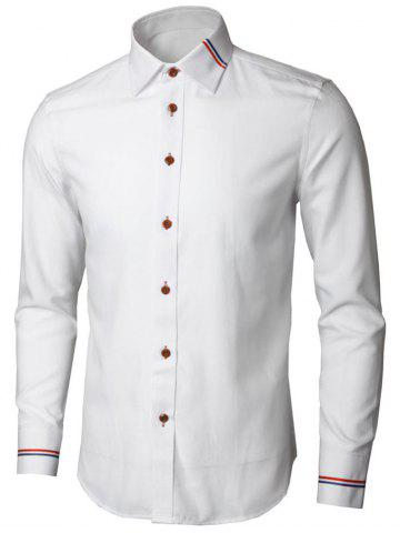Affordable Stripe Detail Long Sleeve Shirt - L WHITE Mobile