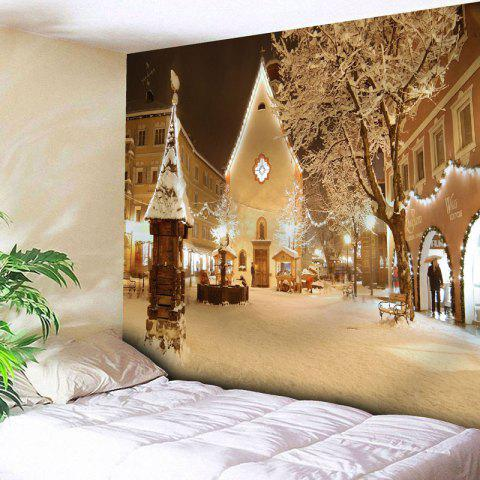 Fancy Christmas Town Snowscape Print Wall Tapestry YELLOW W79 INCH * L59 INCH