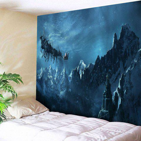 Discount Snow Mountain Christmas Sled Wall Tapestry - W79 INCH * L59 INCH BLUE Mobile