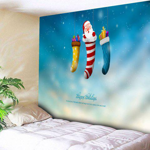 Sale Santa Claus Christmas Socks Wall Tapestry - W79 INCH * L59 INCH BLUE Mobile