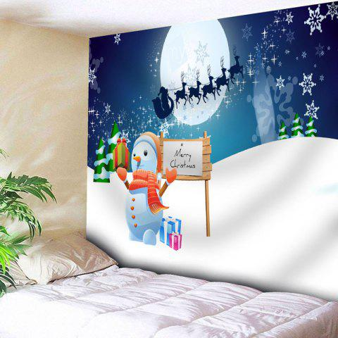 Trendy Christmas Sled Snowman Moon Wall Tapestry - W79 INCH * L59 INCH WHITE Mobile