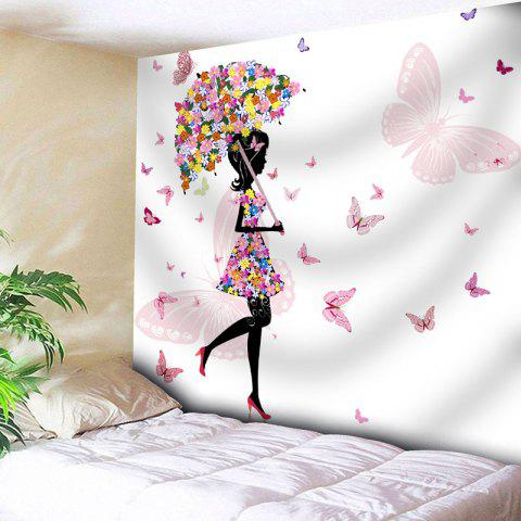 Fashion Butterfly Flower Beautiful Girl Wall Tapestry - W79 INCH * L71 INCH WHITE Mobile