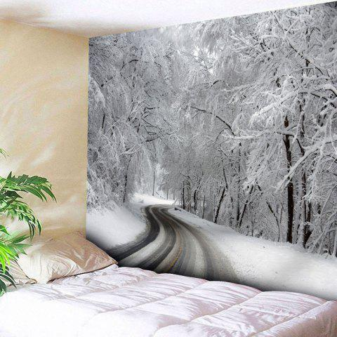 Latest Wall Decor Snowscape Print Tapestry WHITE W91 INCH * L71 INCH