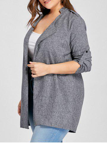 Buy Plus Size Lapel Open Front Coat - 5XL GRAY Mobile