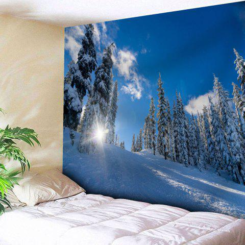 Discount Wall Art Snowscape Pattern Tapestry - W59 INCH * L59 INCH SKY BLUE Mobile