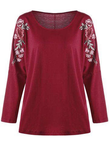 Online Plus Size Embroidered Split Sleeve Top - 4XL RED Mobile