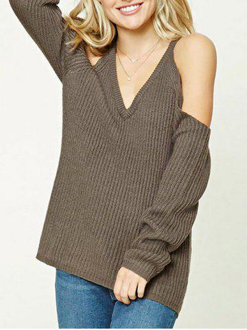 V Neck Ribbed Cold Shoulder Sweater