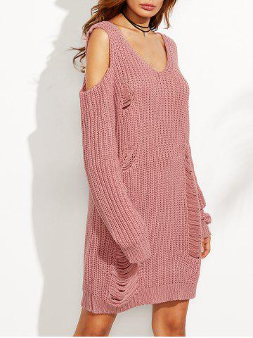 Latest Cold Shoulder Ripped Sweater Dress PINK M