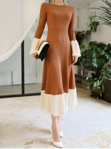 Online Flare Sleeve Knitted Midi Dress CAMEL S