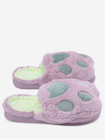 Sale Color Block Faux Fur Slippers PURPLE SIZE(36-37)