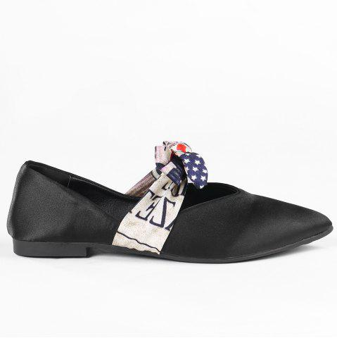 Discount Slip On Bowknot Flat Shoes BLACK 38
