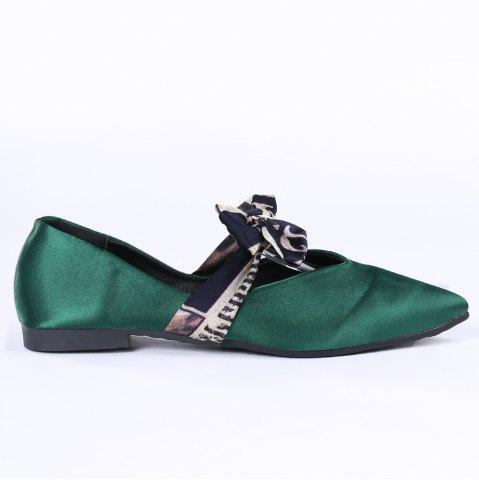 Shop Slip On Bowknot Flat Shoes GREEN 36